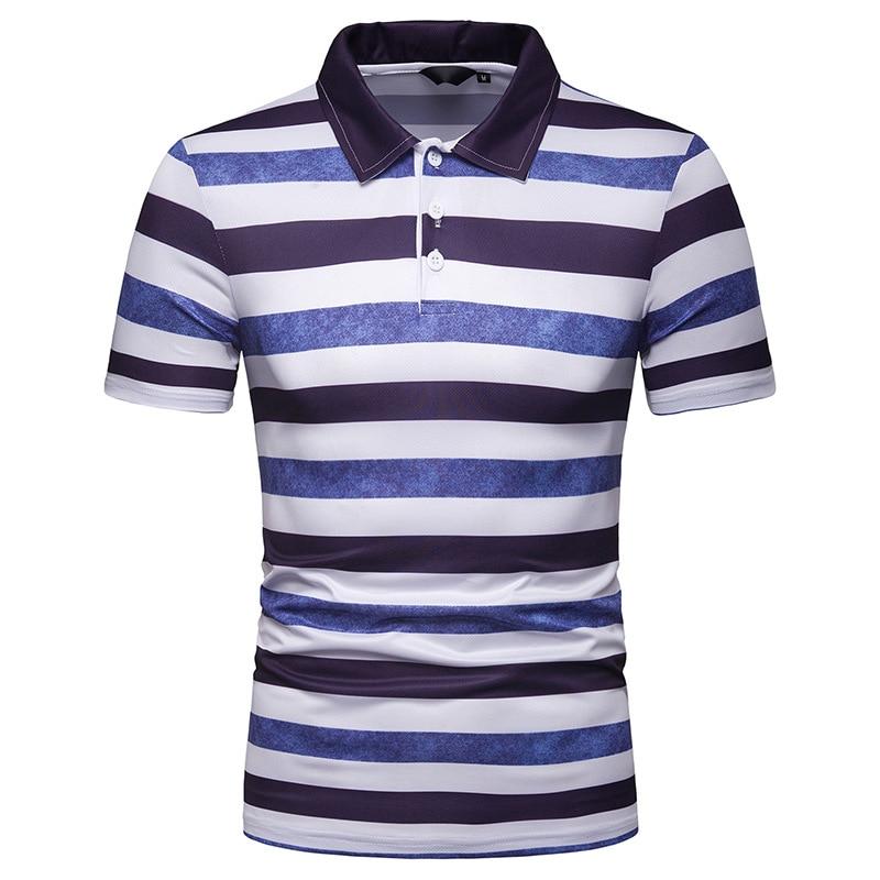 2019 Free Shipping New Summer Men's Short Sleeve   Polo   Shirt Male Contrast Color Stripe Print Slim Lapel Casual Mens   Polo   Shirt