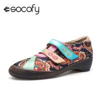Socofy Bohemian Vintage Style Women Flat Shoes Woman Genuine Leather Flats Flower Printed Ladies Shoes Hook&Loop Retro Flats New