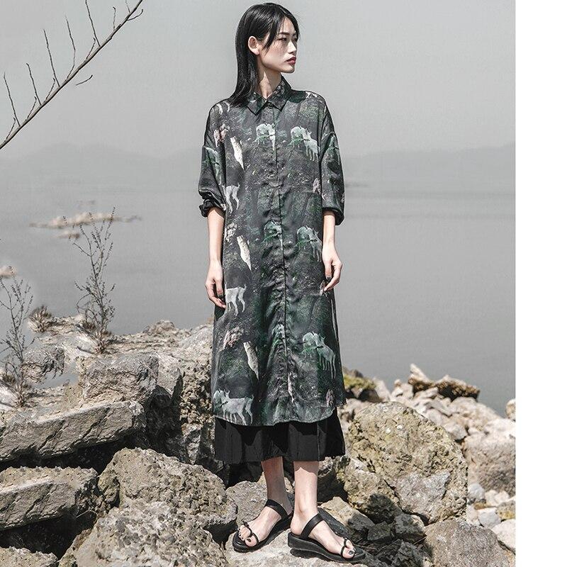 2019 nouveau printemps été revers à manches longues motif vert imprimé lâche longue grande taille chemise femmes Blouse mode marée A175