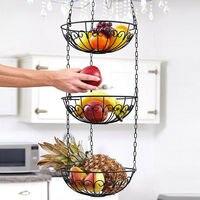 AFBC European Style Storage Basket Racks 3 Tier Hanging Kitchen Vegetable Fruit Storage Basket Rack With Iron Chain
