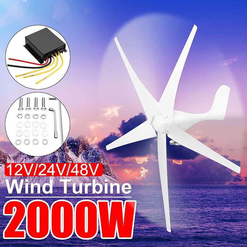 Éolienne à la maison de 2000 W 12/24/48 volts pour l'énergie de générateur de Turbines fibre de Nylon 3/5 énergie horizontale de moulin à vent de lame pour la Charge de Turbines