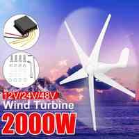 2000W 12/24/48 Volt Home Wind for Turbines Generator Power Nylon Fiber 3/5 Blade Horizontal Windmill Energy for Turbines Charge