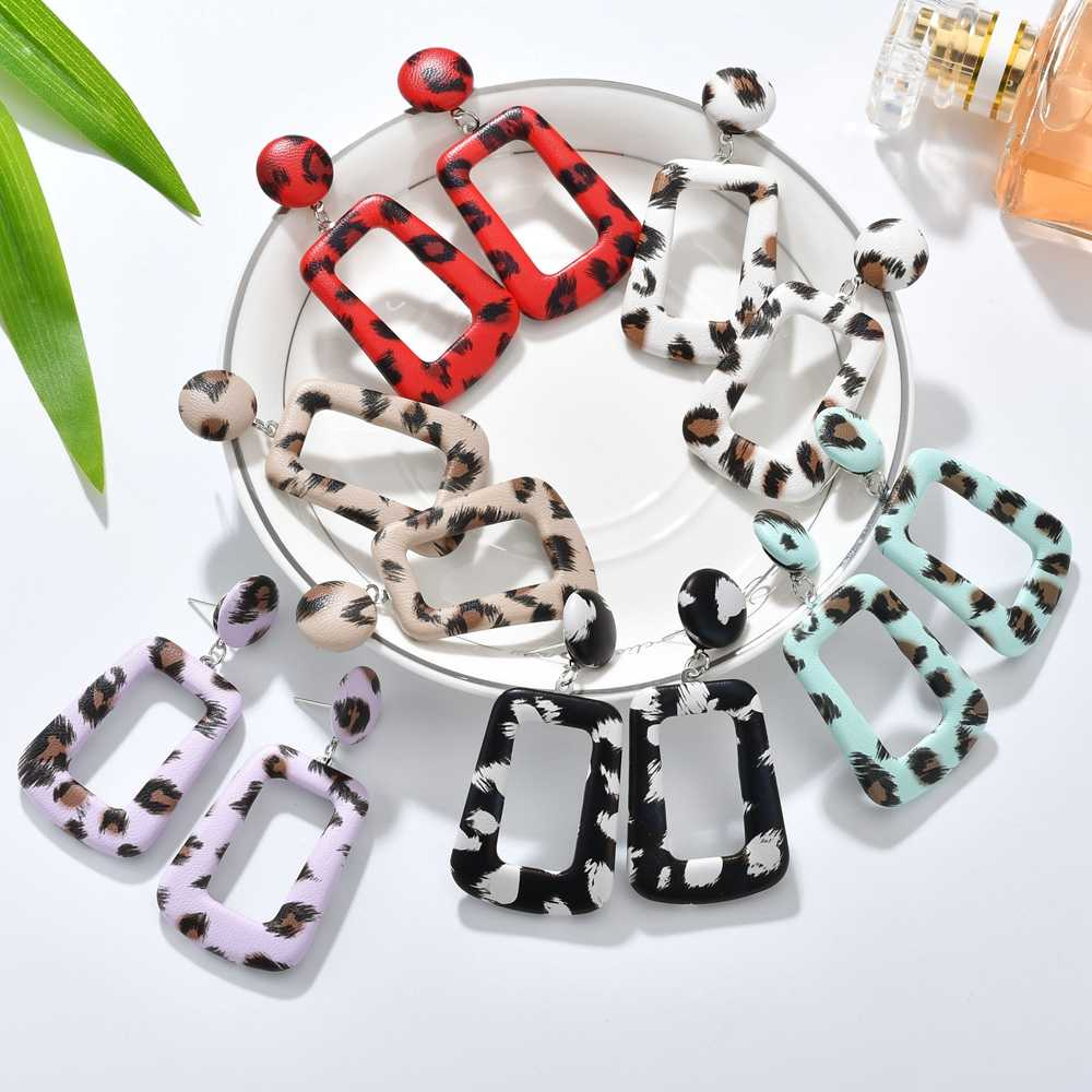 MESTILO New Oversize Geometric Drop Earrings For Women Punk Vintage Big Leather Statement Earrings Party Jewelry Oorbellen Gifts