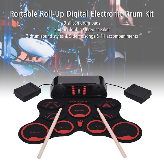 US $49 89 36% OFF|Digital Roll Up Drum Set Electronic Drum Kit 9 Silicon  Drum Pads Built in Double Speakers with Drumsticks Foot Pedals USB Cable-in