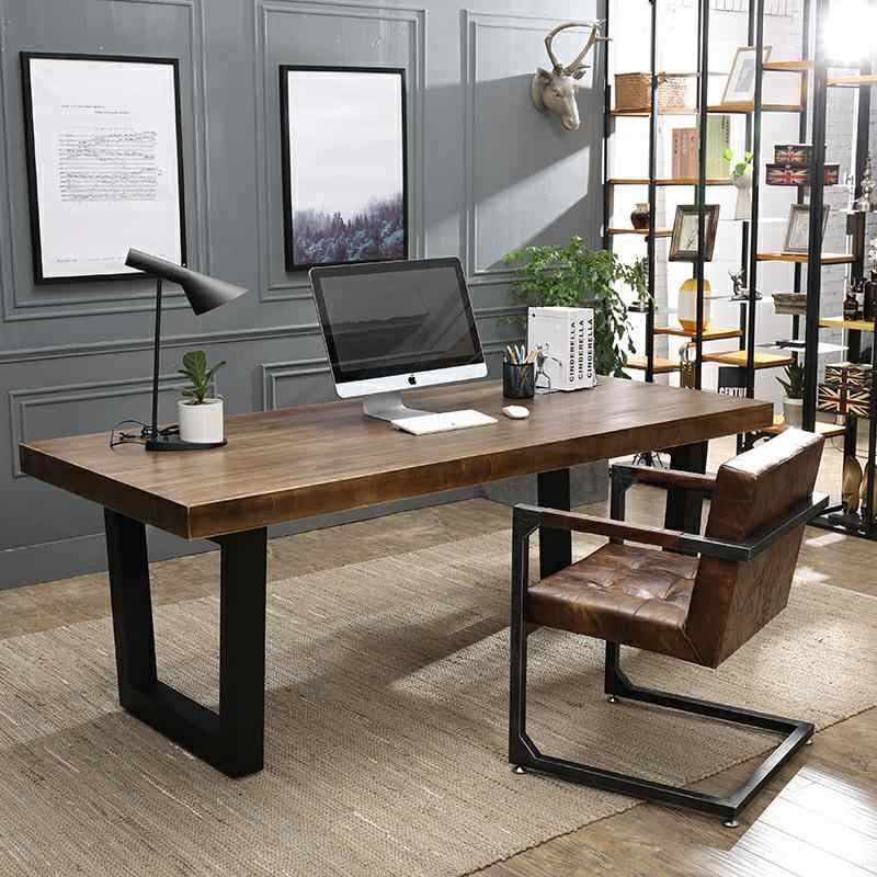 Surprising System Rectangle Solid Wood Desk Loft Industry Iron Wind Caraccident5 Cool Chair Designs And Ideas Caraccident5Info