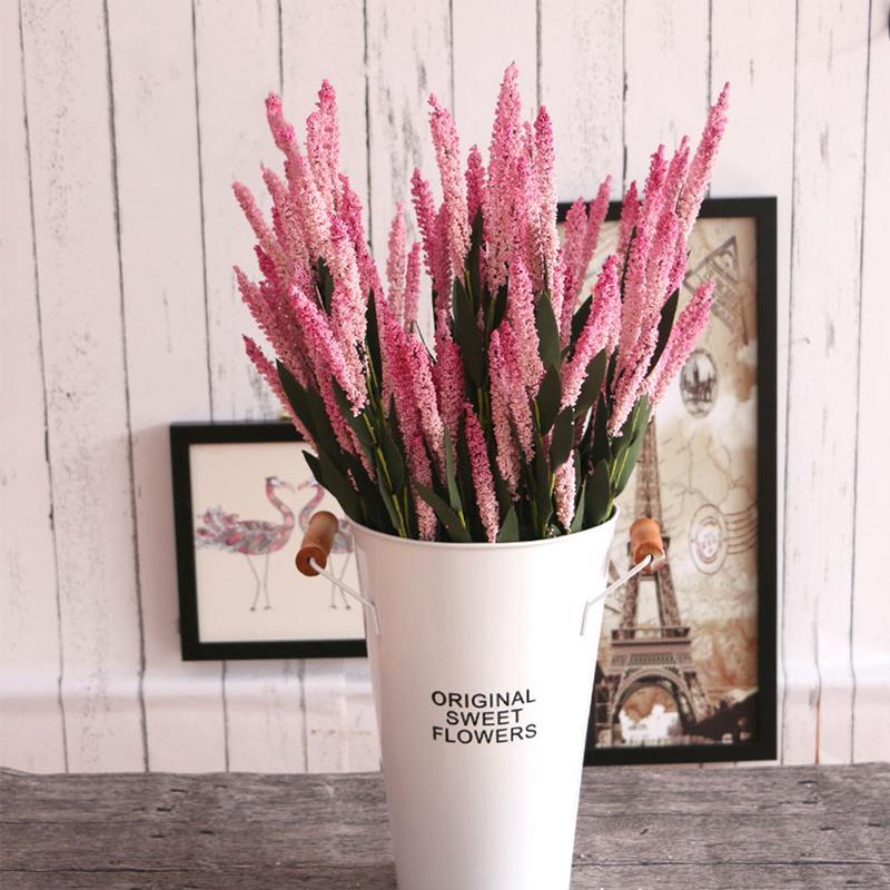 5 piezas ramo Provence romántico Artificial de la flor púrpura lavanda Bouquet con hojas de color verde para fiesta decoraciones