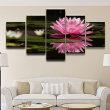 HD Printed Modular Pictures Frame Home Wall Art Decor 5 Pieces Posters Flower Lily Pink Reflection Water Canvas Painting