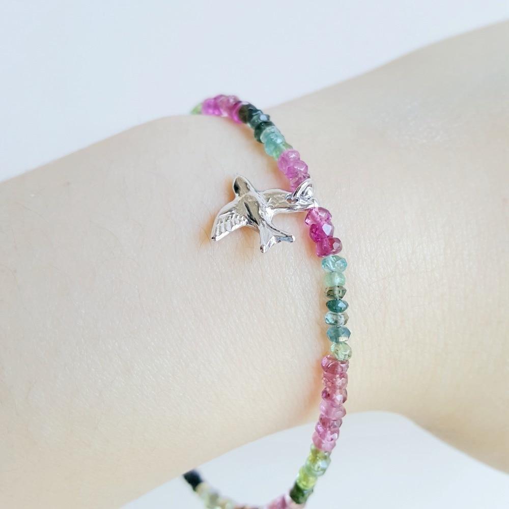 LiiJi Arco Iris Natural de 18 quilates pulsera 925 pulsera de plata esterlina de La Paz paloma aves encanto delicada pulsera para las mujeres-in Pulseras de amuleto from Joyería y accesorios    2