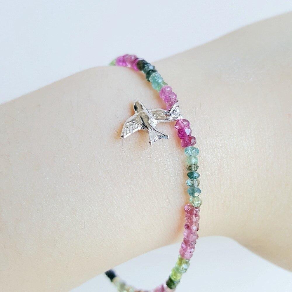 LiiJi Natuurlijke Regenboog Toermalijn Armband 925 Sterling Zilveren Vrede Duif Vogels Charm Delicate Armband Voor Vrouwen-in Amulet armband van Sieraden & accessoires op  Groep 2
