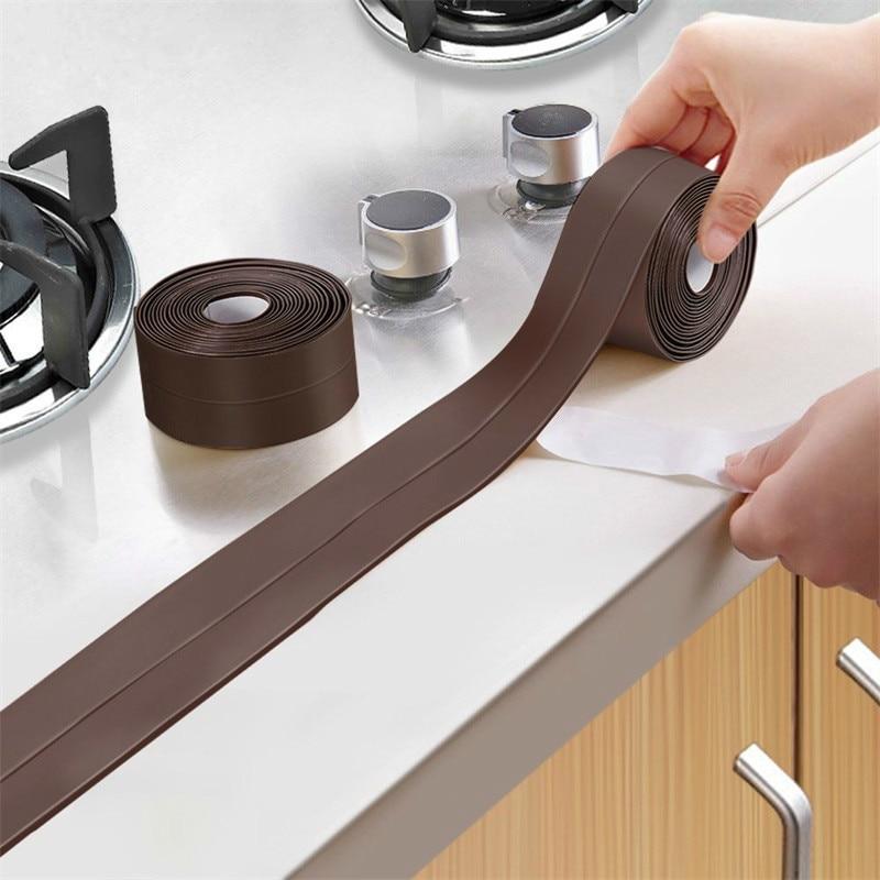PVC Kitchen Bathroom Wall Sealing Tape Waterproof Mildew Proof Sink Joint Crevice Sticker Corner Line Sticking Strip