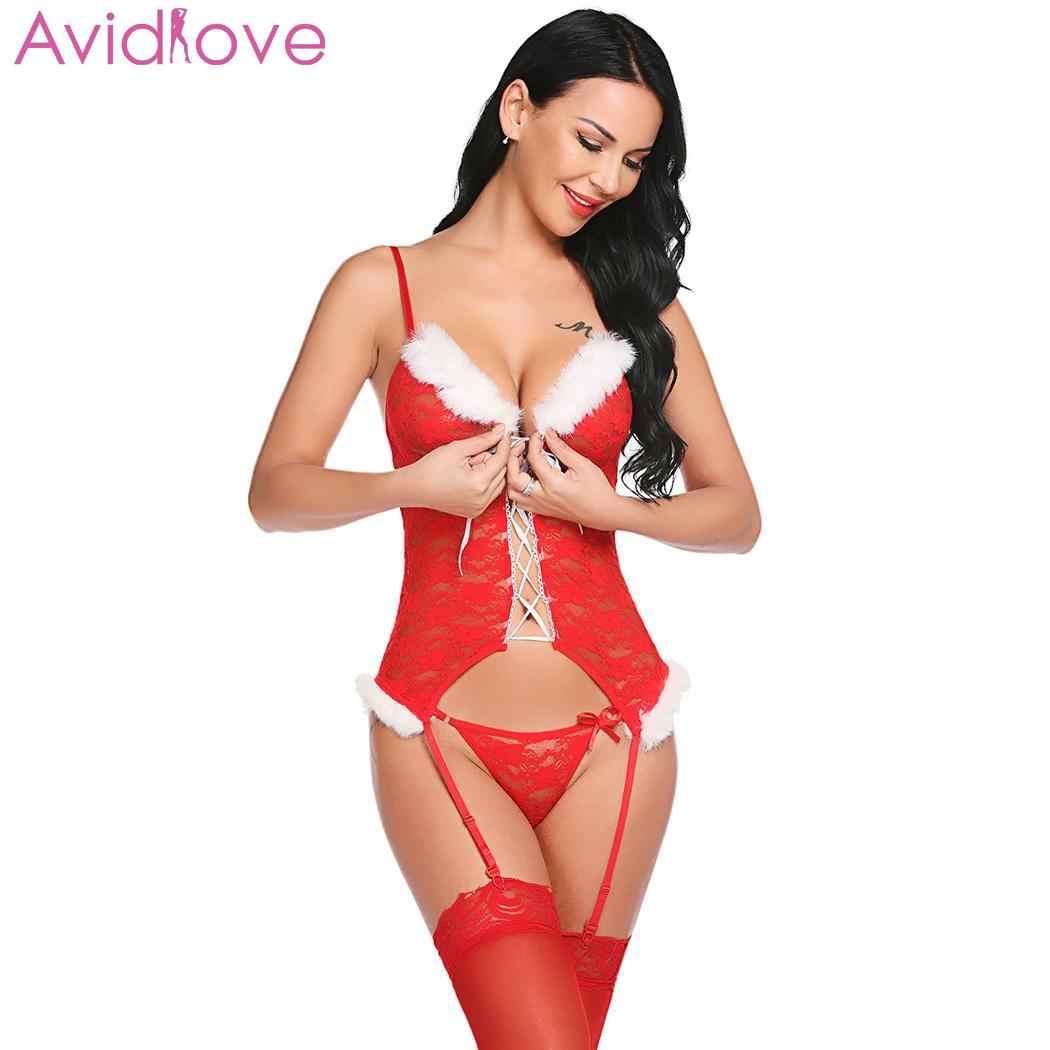 20e65b05a ... Avidlove Sexy Bodysuit Christmas Nightwear Sexy Lingerie Hot Erotic  Underwear Babydolls Plush Sheer Lingerie Women Waist ...