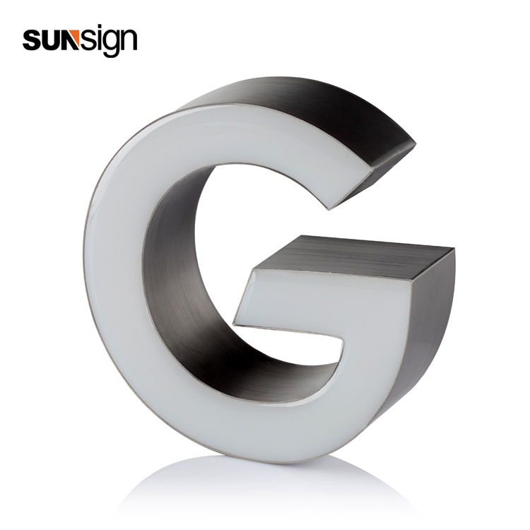 3D Imensional Acrylic LED Front Lit Alphabet Letter Resin Sign
