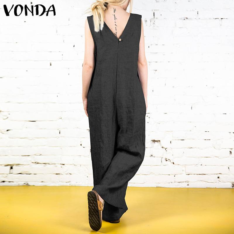 VONDA 2019 Summer Women Vintage   Jumpsuits   Rompers Sexy V Neck Sleeveless Long Playsuit Casual Loose Solid Overalls Plus Size 5XL