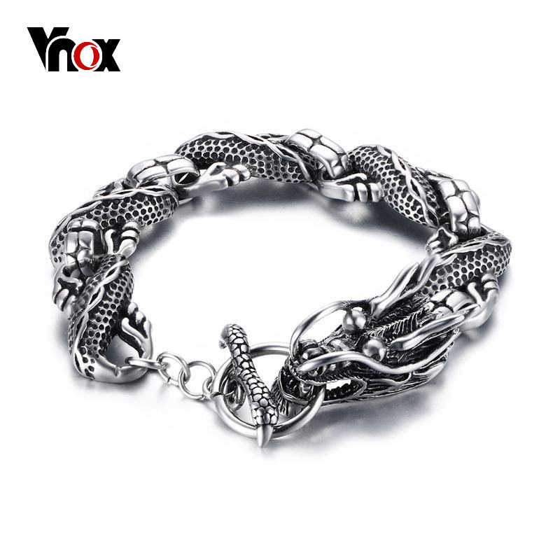 "Vnox Vintage Dragon Bracelet Stainless Steel Chain Punk Men Jewelry 8.3"" High Quality"