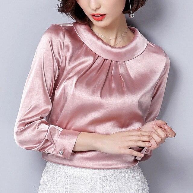 34c12d7501079 Moda mujer brillante Satén de seda camisa de vestir de lujo seda como manga  larga camisas