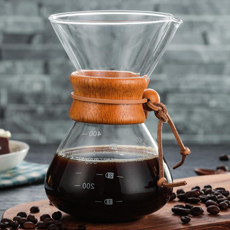 1PC 400ml Coffee Pots Heat Resistant Glass Coffee Pot Chemex Style Pour Over Coffeemaker Coffee Pot Barista Percolator1PC 400ml Coffee Pots Heat Resistant Glass Coffee Pot Chemex Style Pour Over Coffeemaker Coffee Pot Barista Percolator