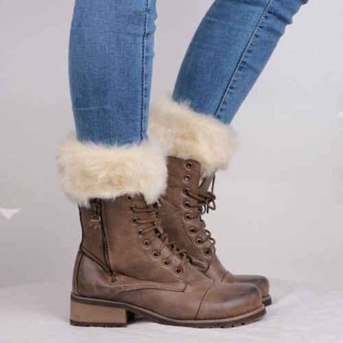 Moda Kadınlar Kış Örme bot paçaları Kürk Örgü Toppers Boot Çorap Bacak Isıtıcıları