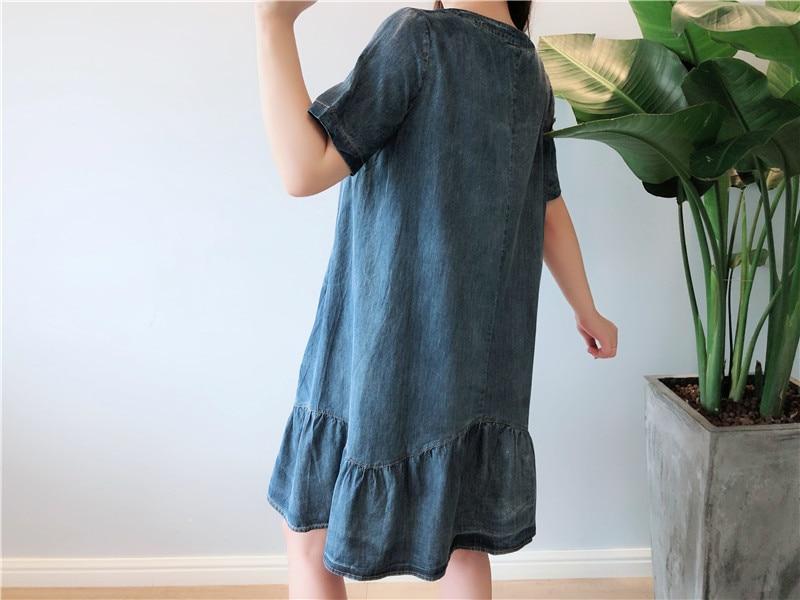 Summer Dress Women Plus Size 5XL Casual O-neck Short Sleeve Denim Dresses Women Knee Length Denim Jeans Women Dress 2019 Robe 4