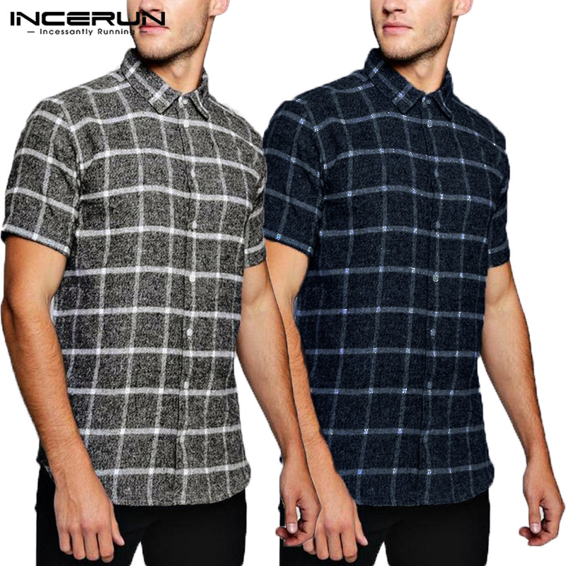 2019 NEW Women Men Tops Plaid Shirts Short Sleeve Social Shirt Dress Loose Fit Tropical Vacation Camisa Chemise Tee Men Clothing