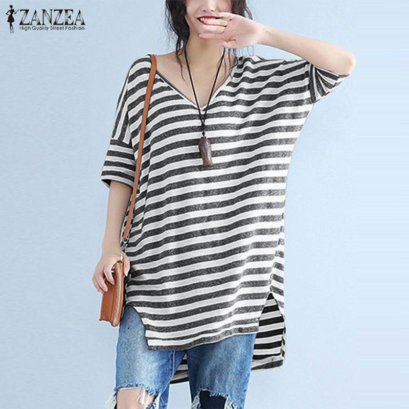 Blusas Top 2019 ZANZEA Fashion Striped V Neck Short Sleeve Blouse Summer Women Casual Party Loose Irregular Long Shirts Vestidos