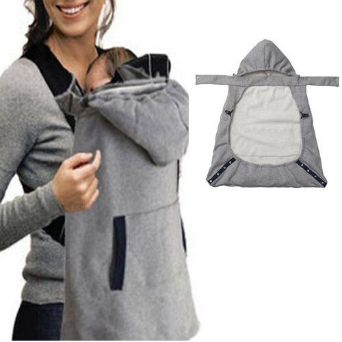 2019 Brand New Warm Wrap Sling Baby Carrier Windproof Baby Backpack Blanket Carrier Cloak Grey Funtional Winter Cover Hot