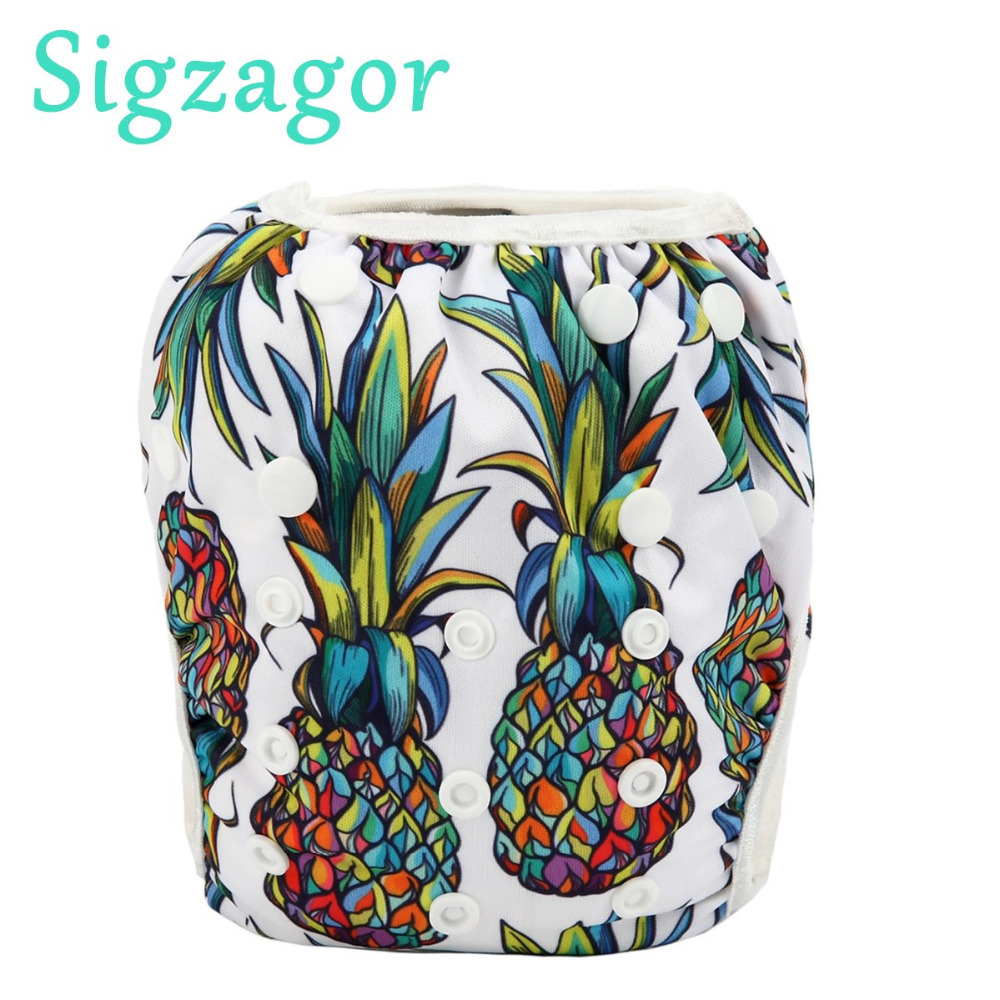 2 to 7 years old BIG Cloth Diaper Nappy Pocket Reusable Toddler Junior Pineapple