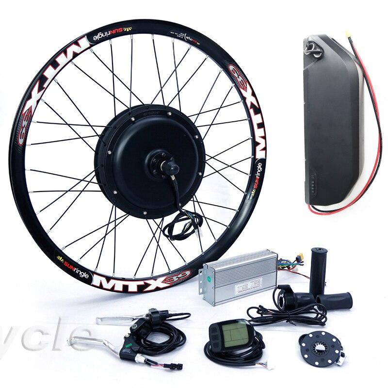 Kit de conversion de vélo électrique de type Cassette 52v 2000W 8s ou 9s avec batterie au lithium de vélo électrique 52V17ah