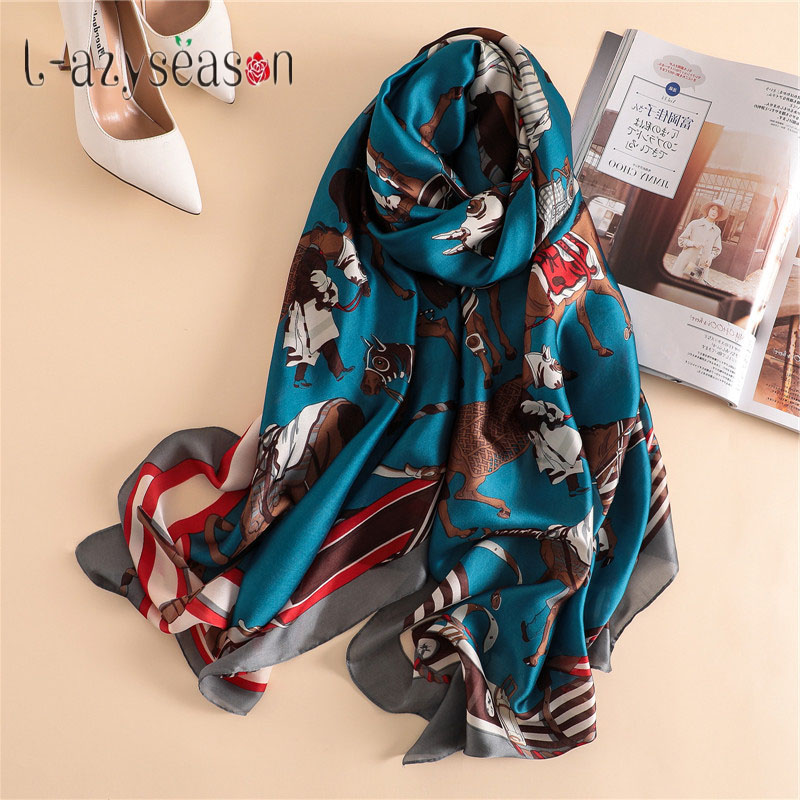 Spring brand female silk feeling shawl   scarf   women fashion horse print summer foulard femme Silky   Scarf     Wraps   Long pashmina
