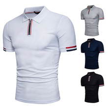 Summer Short Sleeve Zipper Stitching Lapel Quality Cotton Business and Casual POLO Shirt for Men