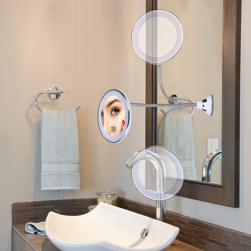 Us 14 28 50 Off Bath Mirror Adjule 10x Magnifying Bright Led 360 Swivel Makeup Flexible Bendable Gooseneck Wall Mounted In