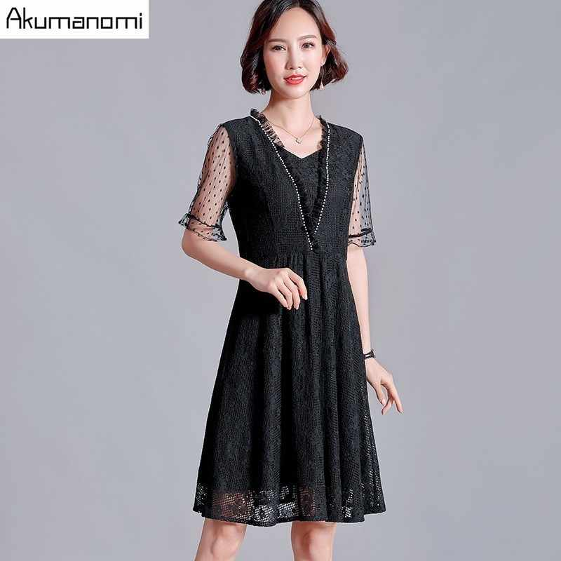 Summer Lace Dress Women 2019 Plus Size 5xl black Square Collar short sleeve a-line Dress Vestidos Card Pack Russia Free Shipping