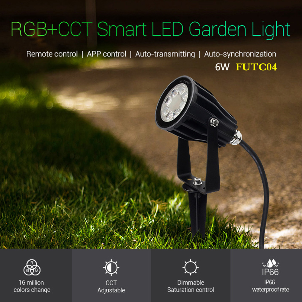 FUTC04 6W RGB CCT Smart LED Garden Lamp Lights IP66 AC 100v 220V for Outdoor Green space Park road plant landscape decoration