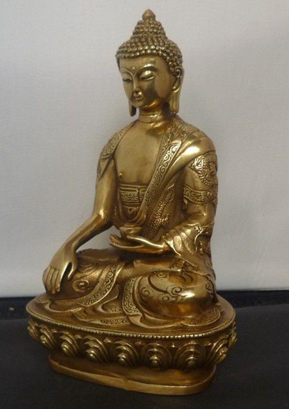 التبت التبت Buddhis شاكياموني البرونزية بوذا تمثال-في التماثيل والمنحوتات من المنزل والحديقة على  مجموعة 3