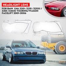 Ясно правая/влево автомобиля Корпус фар оболочка объектива Крышка лампы для сборки BMW E46 2001-2005 4DR 3 серии/Touring/универсал/подтяжку лица