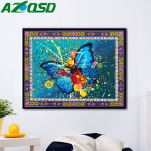 AZQSD DIY Diamond Mosaic Cross Stitch Butterfly Wall Art Special Shaped Painting Animal Home Decoration 5D