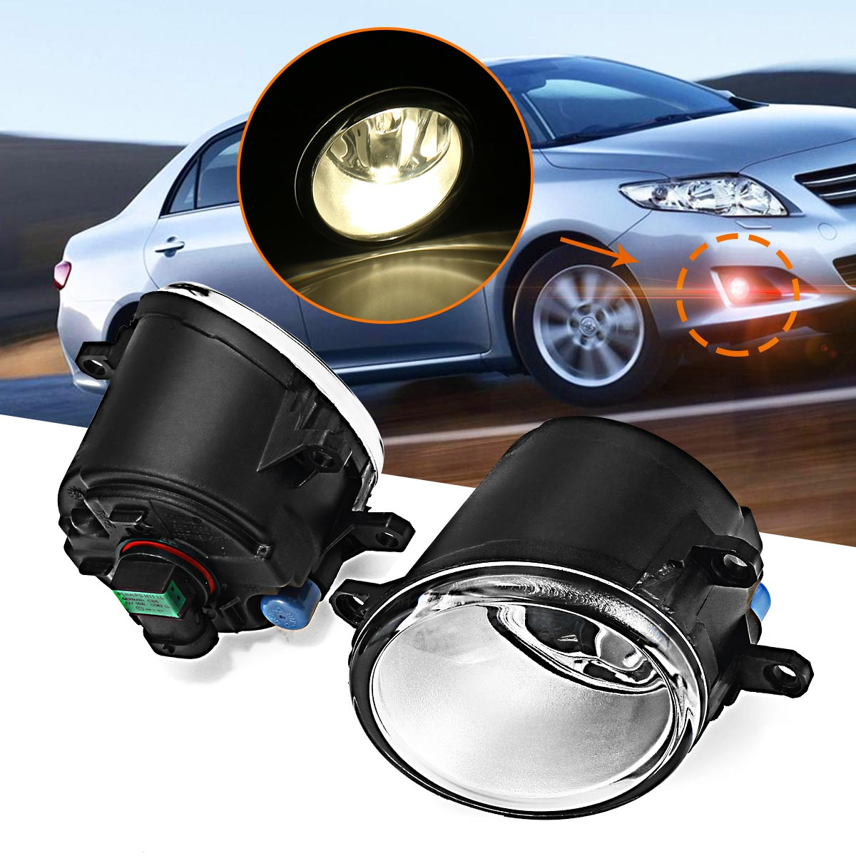 Car Front Fog Lights font b Lamp b font With H11 Bulbs for Toyota Corolla Yaris