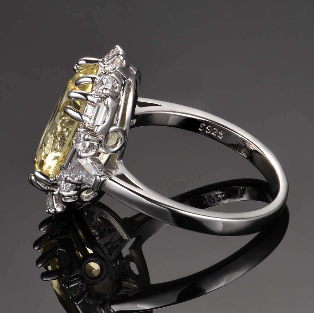 Nasiya Citrine อัญมณีแหวนเงินแท้ 925 เครื่องประดับแหวนครบรอบ Paty ของขวัญขายส่ง