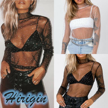 Summer Women T-Shirts New Sexy Women's See through Lace Mesh T-Shirt Long Sleeve O-Neck Lace Dot Sexy Tops недорого