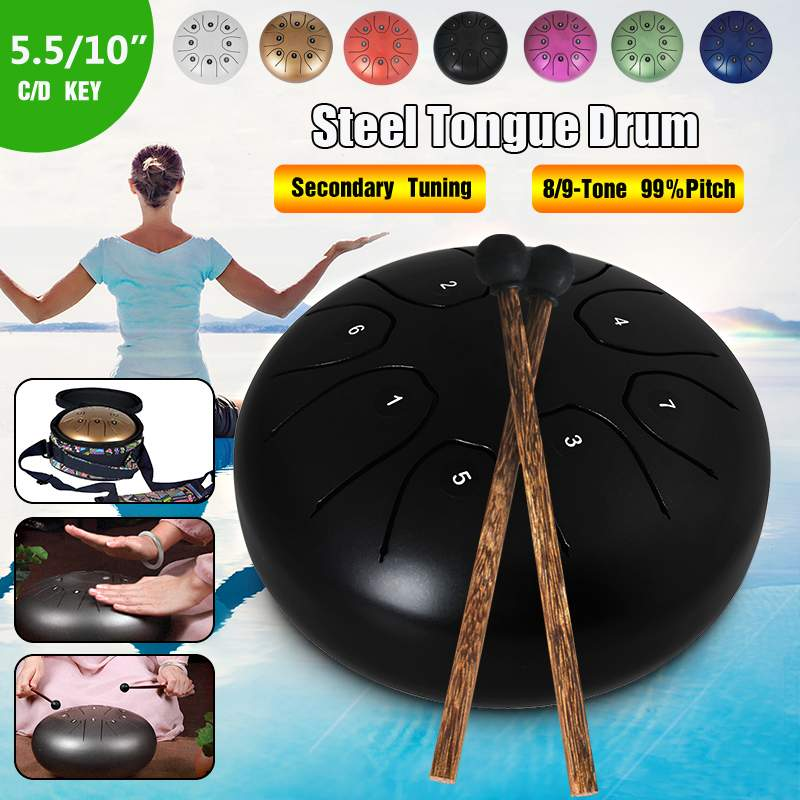 5.5 Inch C Key Tongue Drum Mini 8-Tone Steel Hand Pan Drum Percussion Instrument with Drum Mallets Carry Bag5.5 Inch C Key Tongue Drum Mini 8-Tone Steel Hand Pan Drum Percussion Instrument with Drum Mallets Carry Bag