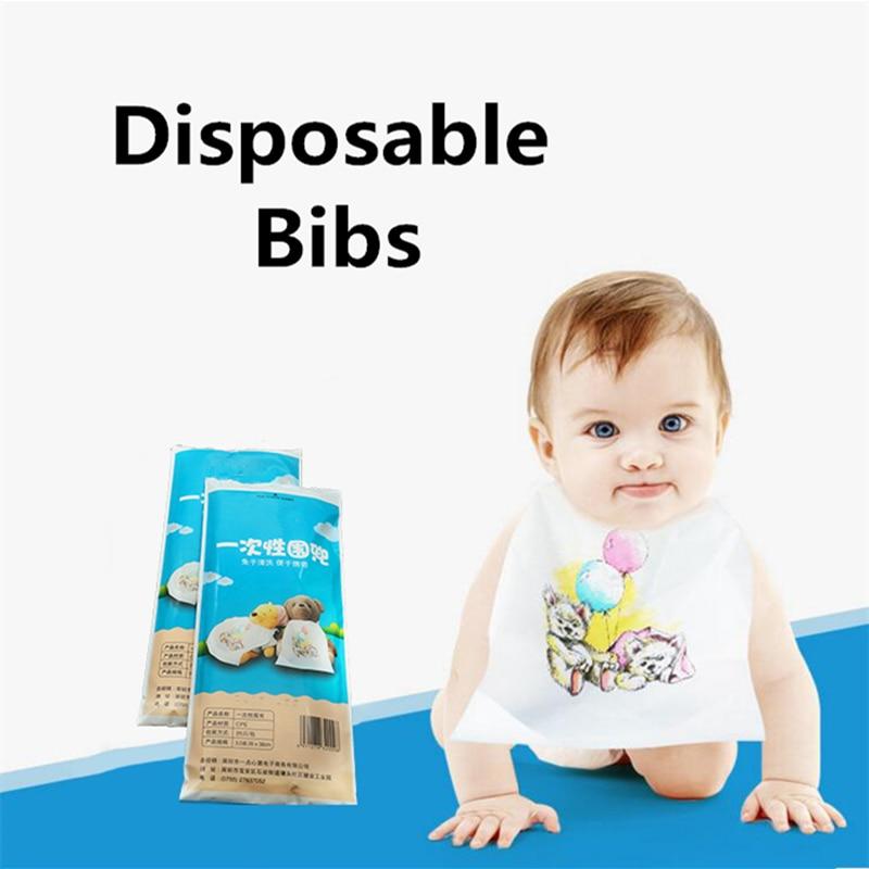 25pcs/lot Baby Bibs Disposable Waterproof Lunch Bibs Portable Travel Infants Bibs Boys Girls Feeding Burp Cloths Bibs Apron