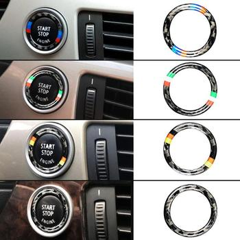 Carbon Fiber One Button To Start The Decorative Ring Car Engine Start Stop Button Ring Trim For BMW E90 E92 E93 image