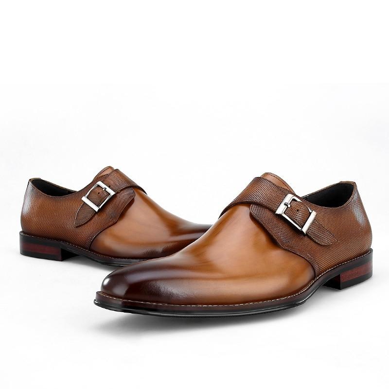 0f3cb900ef Black Boda Hombre Caliente Venta Genuino Marrón Negocios negro brown Monje  Hombres Novio Prom Vestido Zapatos ...