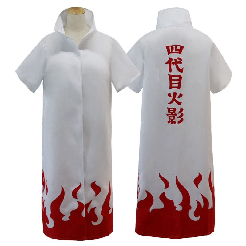 Anime Naruto Cosplay Cloak Robe White Cape Dust Coat Akatsuki  Kakashi Namikaze Minato Hokage Uniform Halloween Party Costume