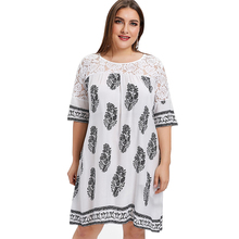 46d55b0a75 2019 Spring Summer Dress Plus Size Long Tunic Leaf Print Dress Loose Women S  Lace Patchwork Dresses Straight Boho Dress Vestidos