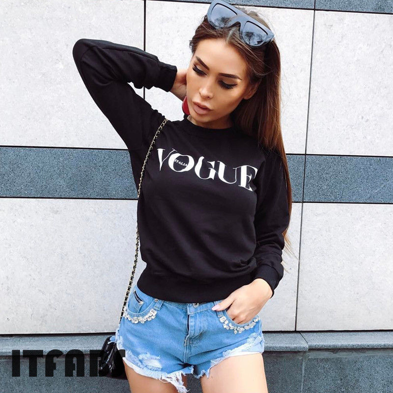 Fashion Grey Black S-XL Vogue Letters Women Cotton O Neck Elastic Basic Casual Tops Long Sleeve T-shirt