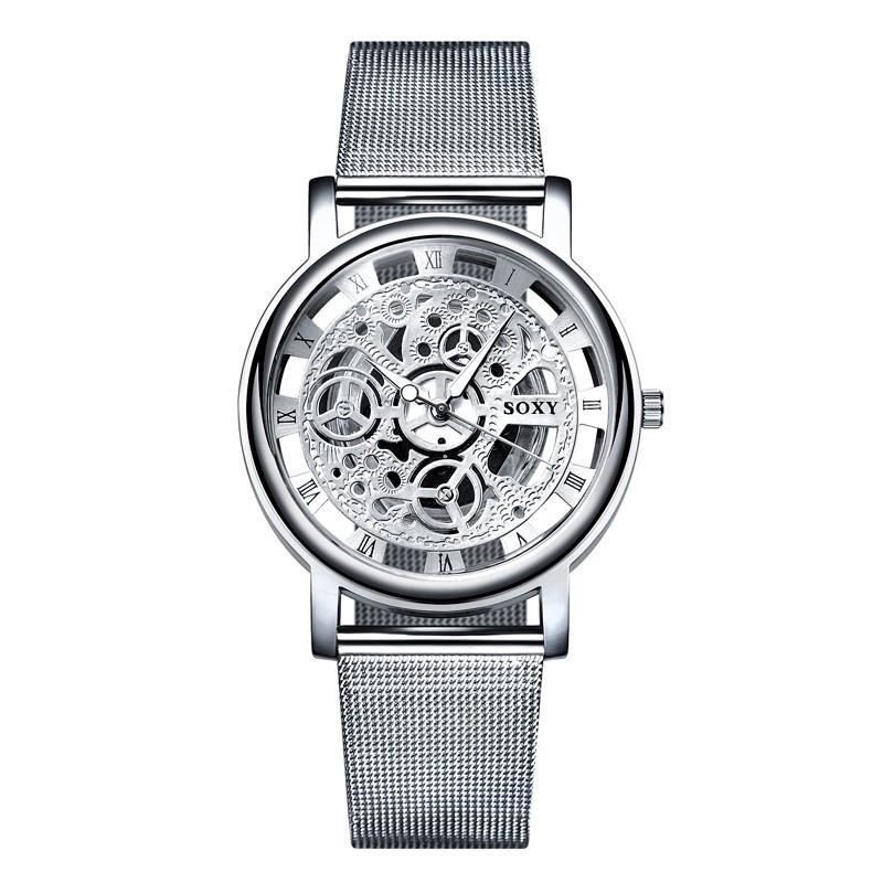 2020 women watches Hollow Skeleton Wristwatch Mesh Belt ladies Quartz silver gold Watch zegarek damski relogio feminino