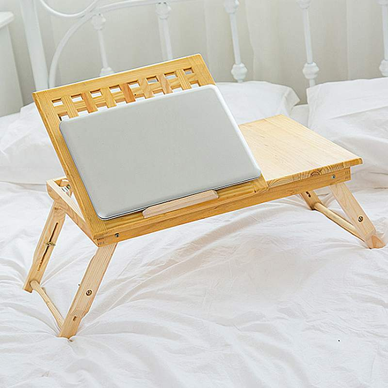 Multi Function Table Bed Office Lapdesk Table Solid Wood Bamboo Computer Portable Breakfast Table Sofa Bed 2018 Anti-skid strip