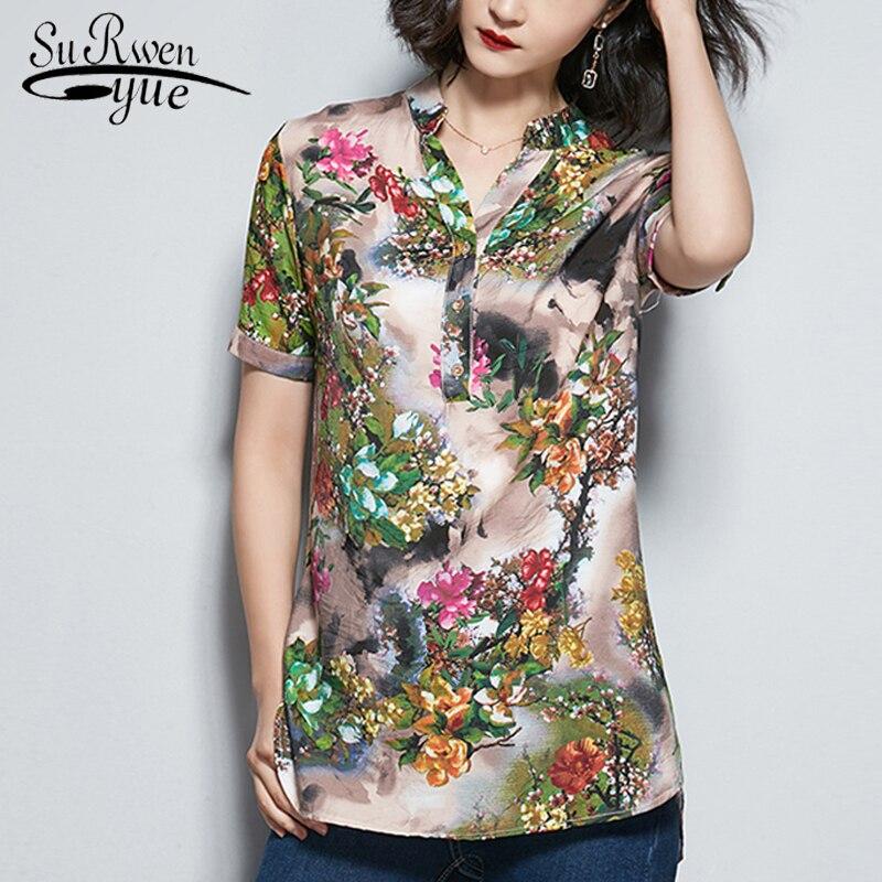 Fashion plsu size print chiffon   blouse     shirt   womens tops and   blouses   short sleeve summer tops office   blouse   women   shirts   2908 50