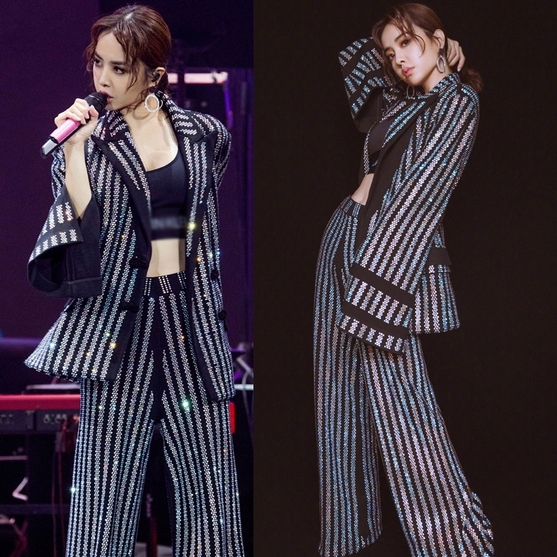 2019 Stars Shiny Hot Drilling Suit Set High Waist Wide legged Pants Full Colorful Drill Women Show Stage Blazer Pant Sets Jc2738