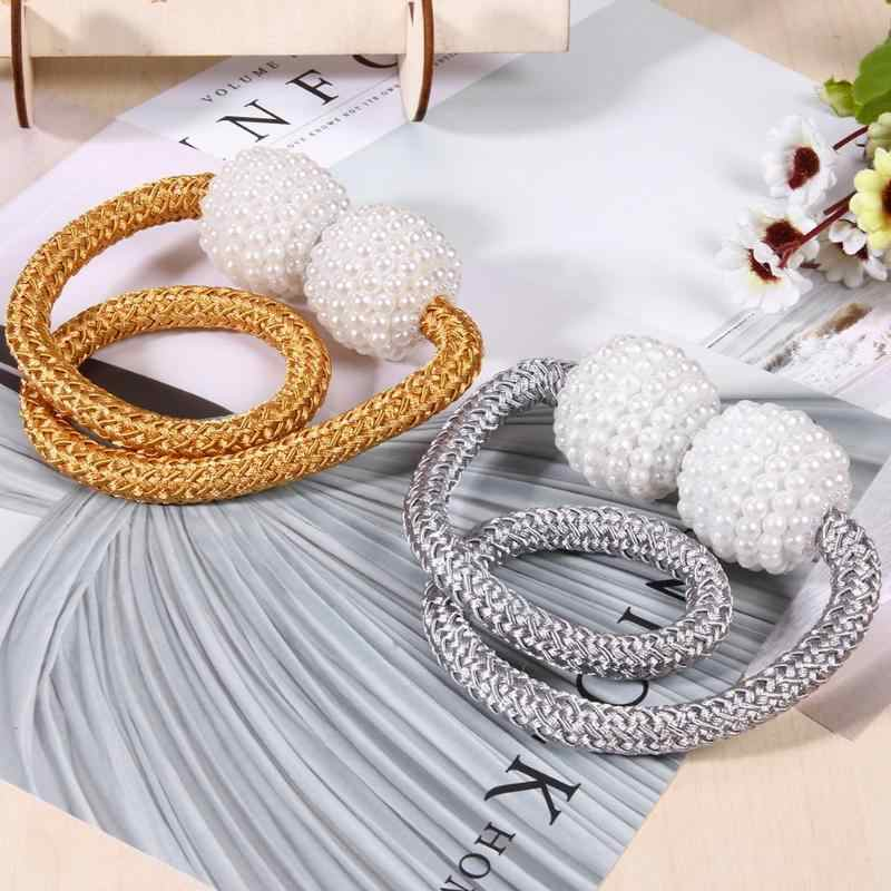 2pcs/set Magnetic Curtains Holdback Imitation Pearl Magnet Curtain Tieback Buckle Holder Window Curtain Supplies